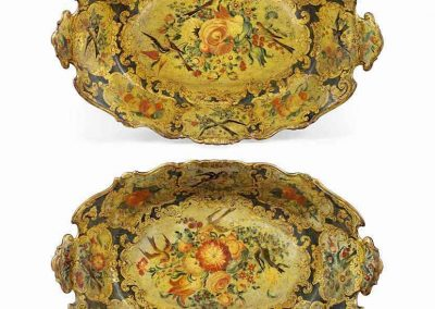 A PAIR OF LACQUERED WOOD TRAYS