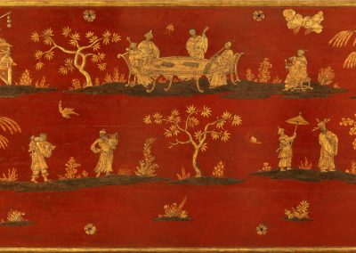 A CHINOISERIE LACQUERED PANEL