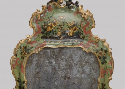 A LACQUERED DRESSING TABLE MIRROR